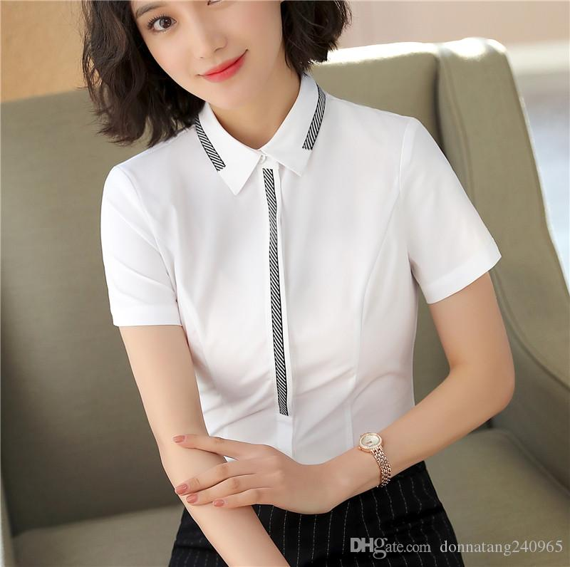 d3601e52467 2018 New Plus Size Office Women Shirts Blouses White Elegant Ladies Chiffon  Blouse Short Sleeve Womens Tops Chemise Femme Canada 2019 From  Donnatang240965, ...