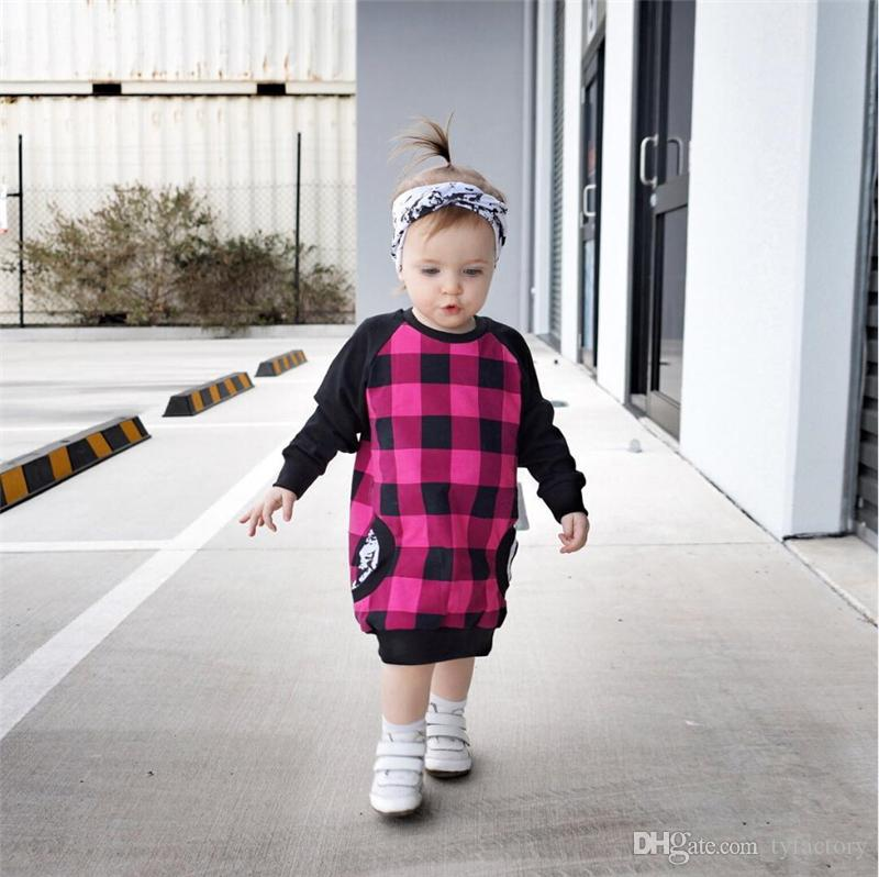 Cute Baby Toddler Kids Girl Dress Long Sleeve Plaid Dress Casual Children Christmas Gift Cotton Vestidos Dress + Headband Pink Outfits