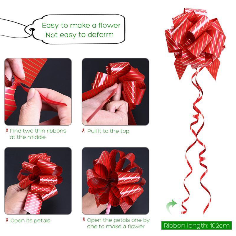 bestoyard 12 قطع هدايا عيد الميلاد سحب الانحناء مع سلاسل الشريط للهدايا التفاف الزخارف حفلات الزفاف الديكور حزب