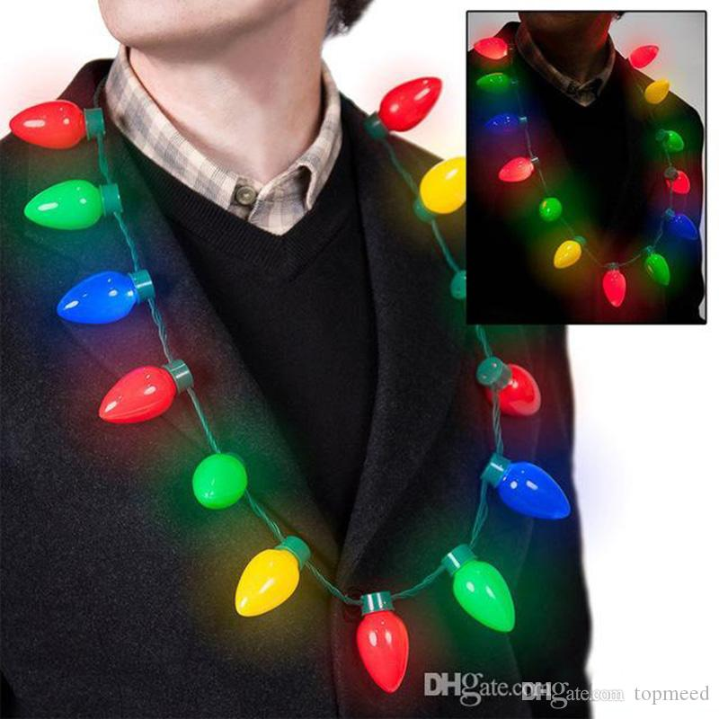 Christmas Lights Necklace Led Light Up Bulb Party Favors For Adults