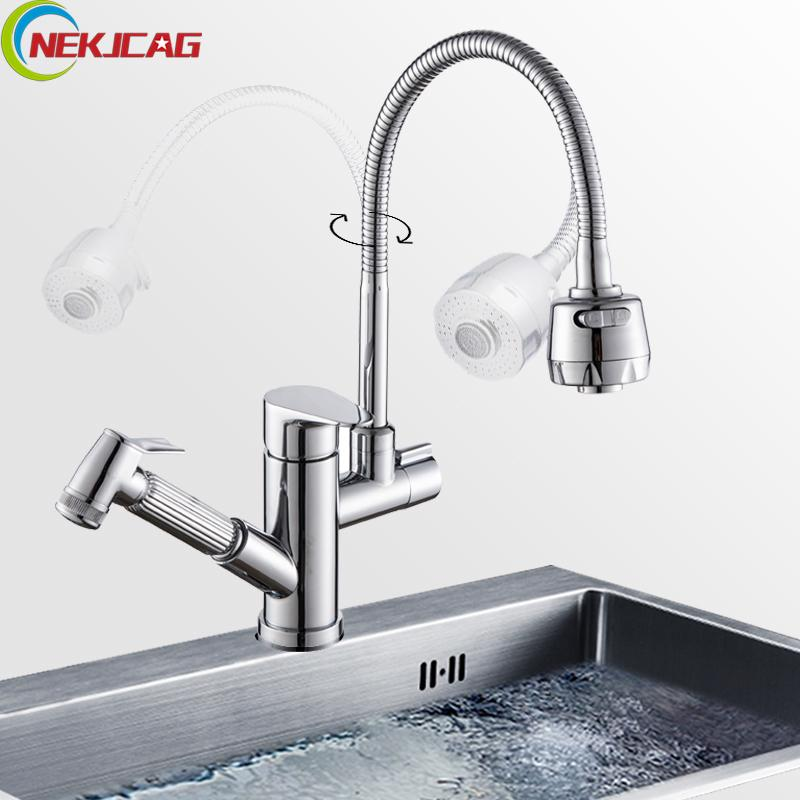 Stream Sprayer Kitchen Faucet Single Handle Dual Spout Pull Out ...