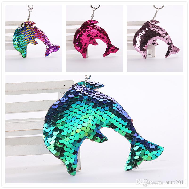 2302e8c1b5 Creative Lovely Sequin Dolphin Keychain Glitter Key Rings Gifts For Women  Car Bag Pendant Accessories Key Chain Car Remotes Car Replacement Key From  ...