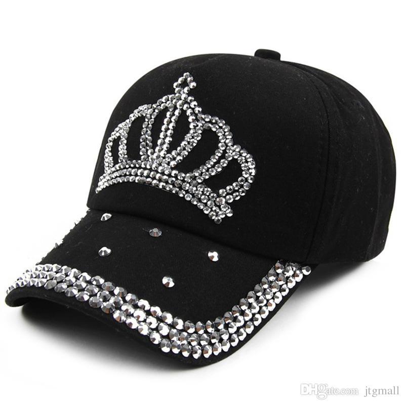 68ba663fa62 New Crown Rhinestone Baseball Caps Fashion Jean Hat Hip Hop Women Denim Baseball  Cap Sun Hat Cap Store Custom Fitted Hats From Jtgmall