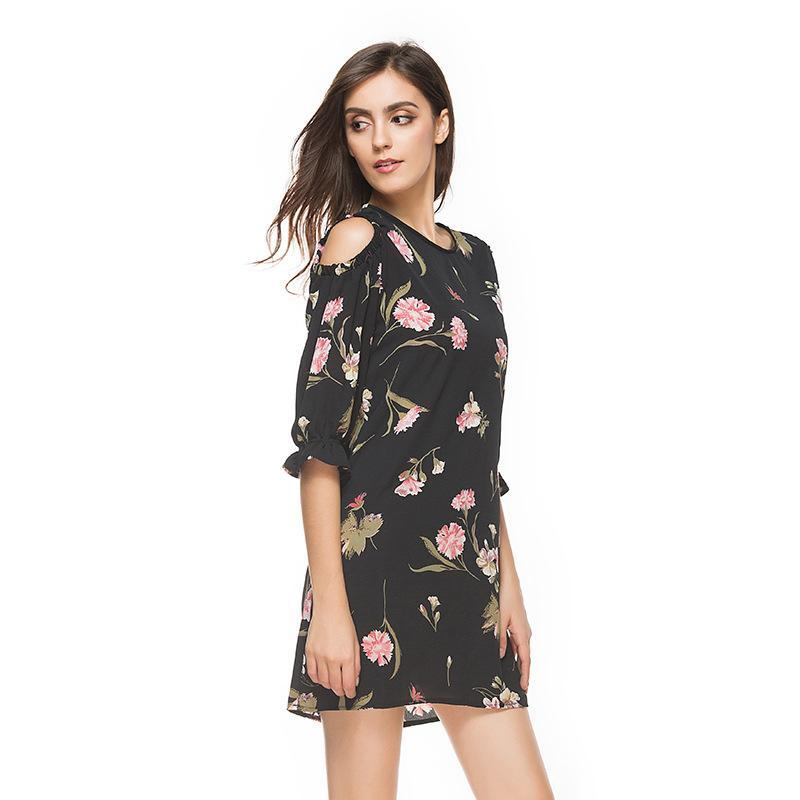 63b2b5f0381 Floral Print Dress Fashion Hot Selling 2017 Summer Plus Size Tank Dress  Print Short Skirt Sleeveless Chiffon One Piece Dress Mini Short Part Women  Black ...