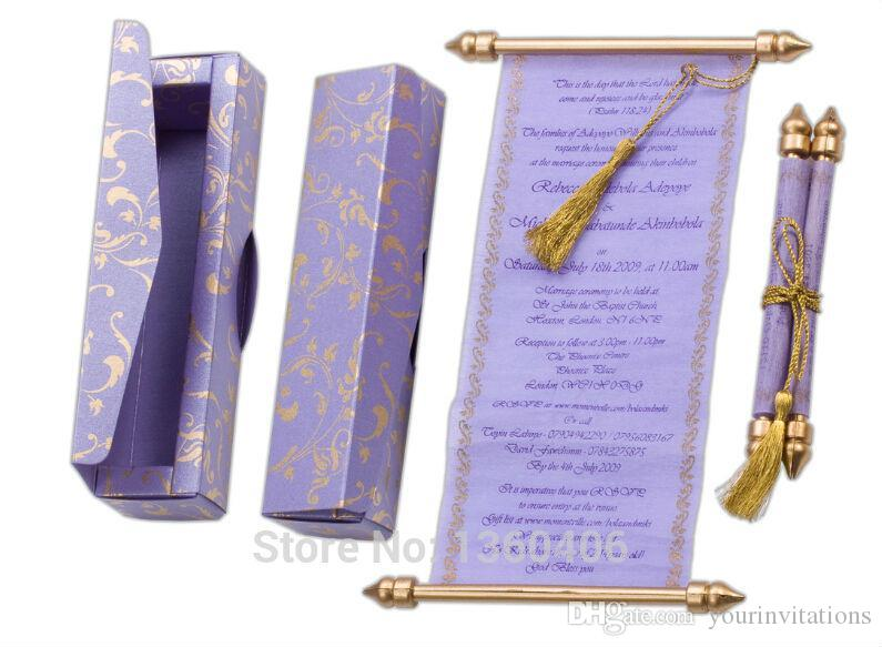 Royal Purple Floral Wedding Invitations Scroll Party Card Convite De