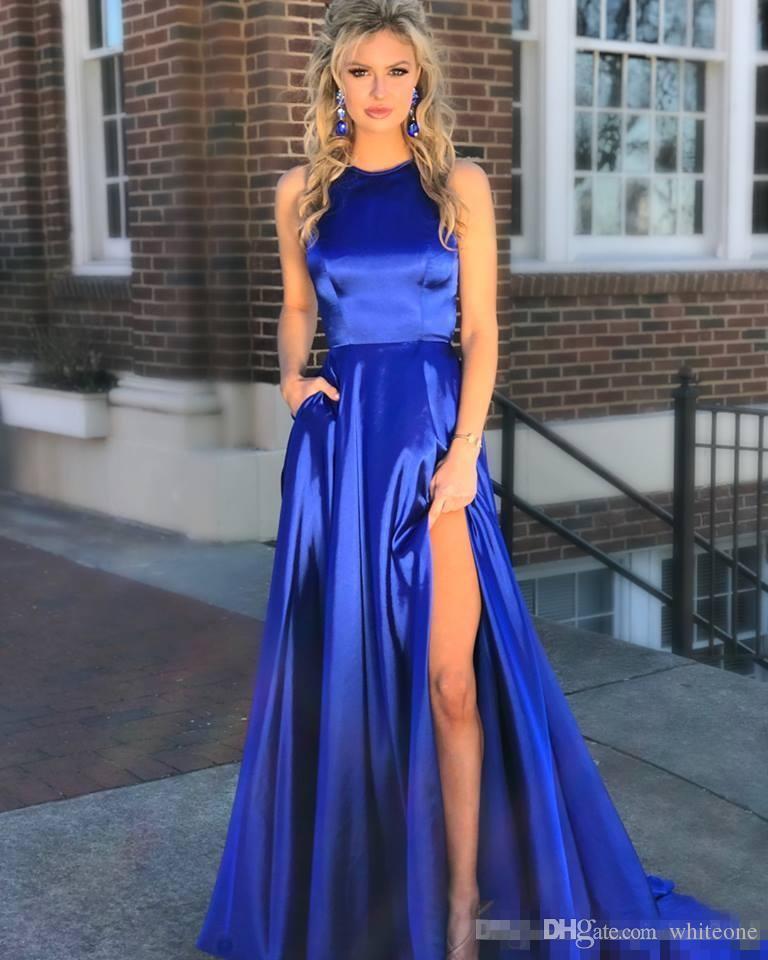 Long Royal Blue Prom Dresses 2018 Cut Out Back High Slit Side Full Length Formal Evening Dress Sleeveless Custom Made