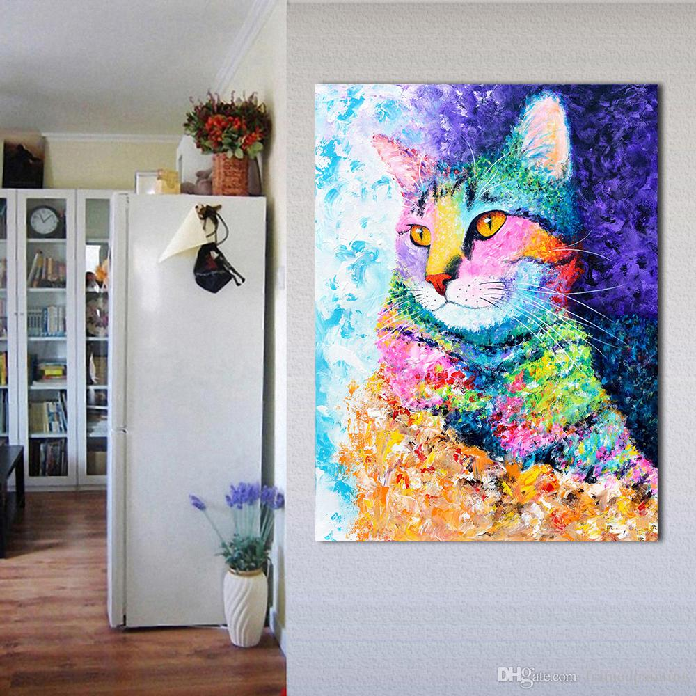 Wall Art Picture The Colorful Cat Oil Painting Canvas For Living Room Bedroom Decoration Posters And Prints No Framed