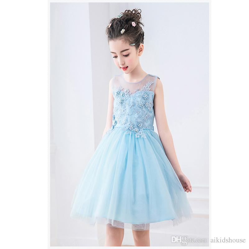 Retail Blue Girl Dress Cute Sleeveless Vest Princess Flower Lace Dress Baby Kids Party Wedding Bridesmaid Vestido For 3-12 Years Old