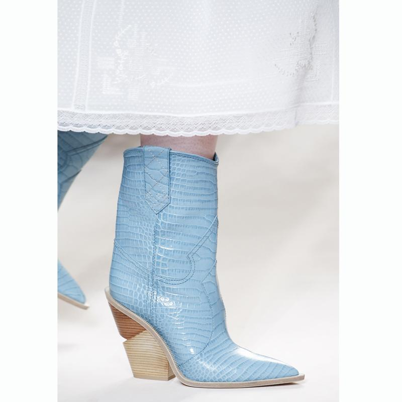 39d516ad178 Pink Blue Genuine Leather Chunky Heels Wedges Point Toe Western Boots  Cowboy Bootas Women Mid Calf Runway Large Size 42 Shoe Wedge Booties Boots  Sale From ...