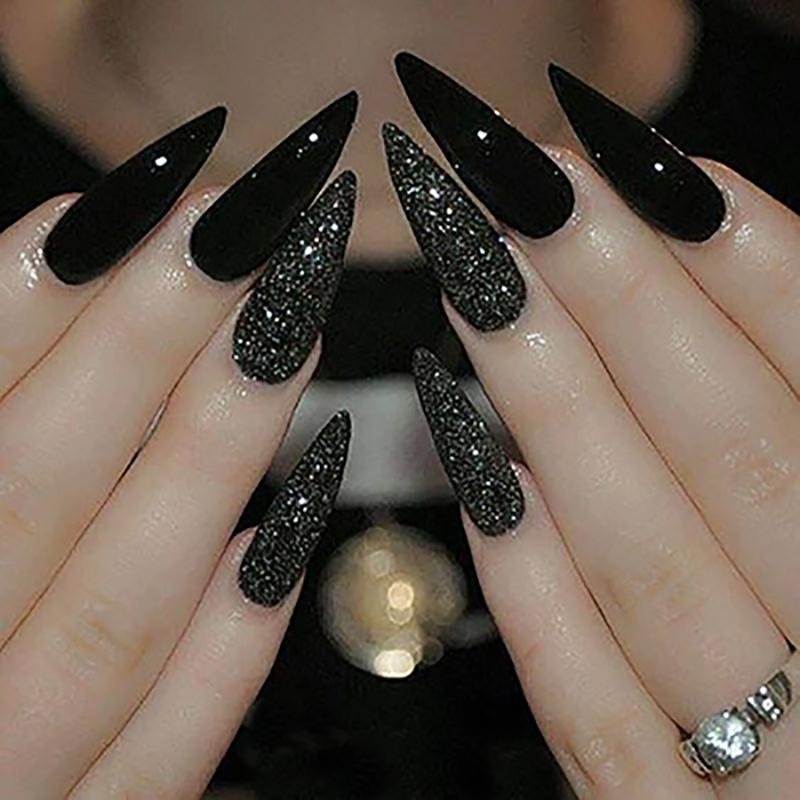 Tkgoes Long Stiletto Nails Long Sharp False Nail Art Tips Acrylic