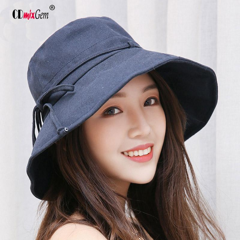 2019 Summer Women S Beach Caps Fisherman S Monochrome Tether Cotton Linen  Hat Foldable Skull Cap Outdoor Sun Protection Visor Hat AC From Pineappleg 5d627db6386