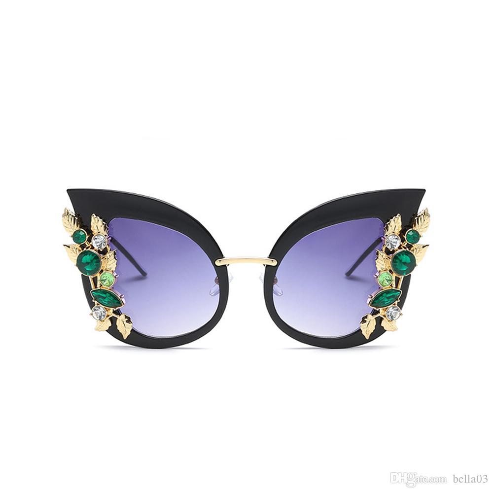 f6dee49e6fc0c8 Acheter Vintage Cristal Cat Eye Lunettes De Soleil Femmes De Luxe Rétro  Strass Fleur Lunettes De Soleil Pour Sunmmer Plage Lunettes De Verre UV400  De  5.89 ...