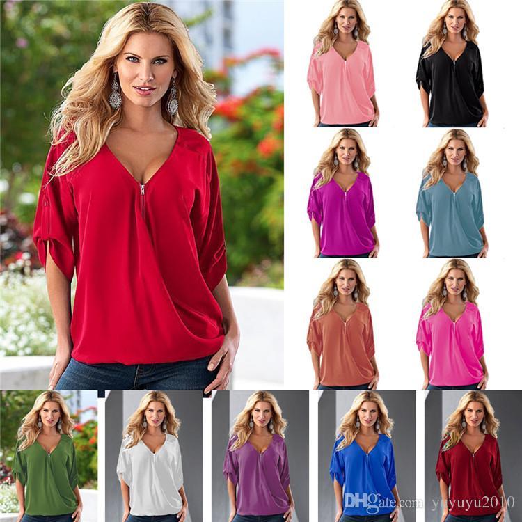 b8b8f34bed61 Women Clothes T Shirts 2018 New Fashion Sexy V Neck Zipper Big Size Long  Sleeve Pull Sleeve Loose Female T Shirt Tops YFF 6122 Tee Shirt Funny Tee  Shirt ...