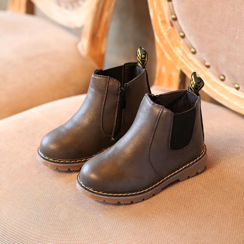 c32b13d529593 Acheter Vente Chaude Enfants Chaussures Garçons Bottes Automne Hiver Mode  Garçons Gentleman Chaussures Enfants En Cuir Filles Martin Bottes Taille 21  36 De ...