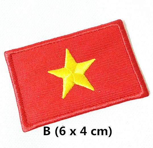 Wholesales 10 pieces Vietnam Flag (4 x 6 cm) World Flag Embroidered Applique Iron on Patch (AL) Custom Made