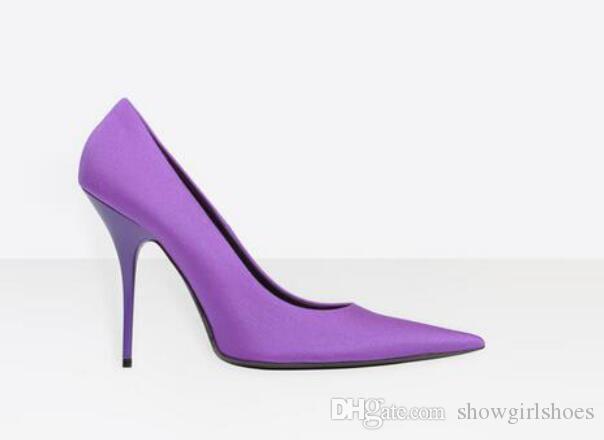 2018 Pembe pompalar Yeşil Streç Kumaş Yüksek Topuklu Kadın Ayakkabı Kim Kardashian Tarzı Ince Topuklar Ayakkabı Seksi Sivri Burun Kadın Pompaları