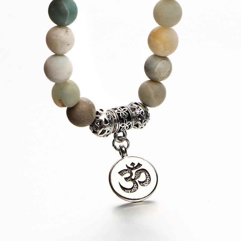Мода натуральный камень шарик браслет очарование йога медитация ом Strand цепи старинные Серебряный Будда Braclet унисекс этнических ювелирных изделий