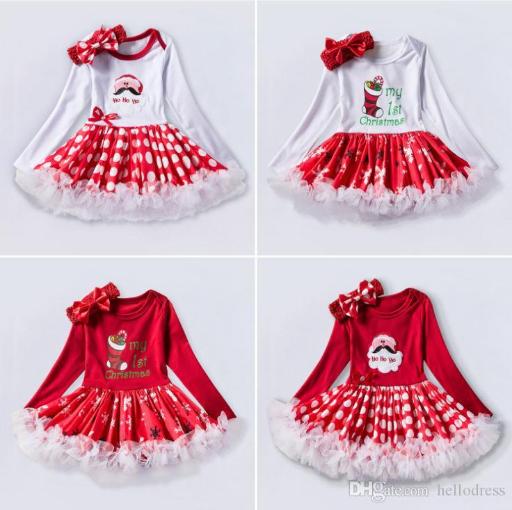 c725b0358931 Long Sleeves Girls Dresses Red White Printed Jewel Neck With Bow Decoration  A Line Dress For Baby Prom Party Holiday Christmas 0 24 Months Girl Dresses  For ...