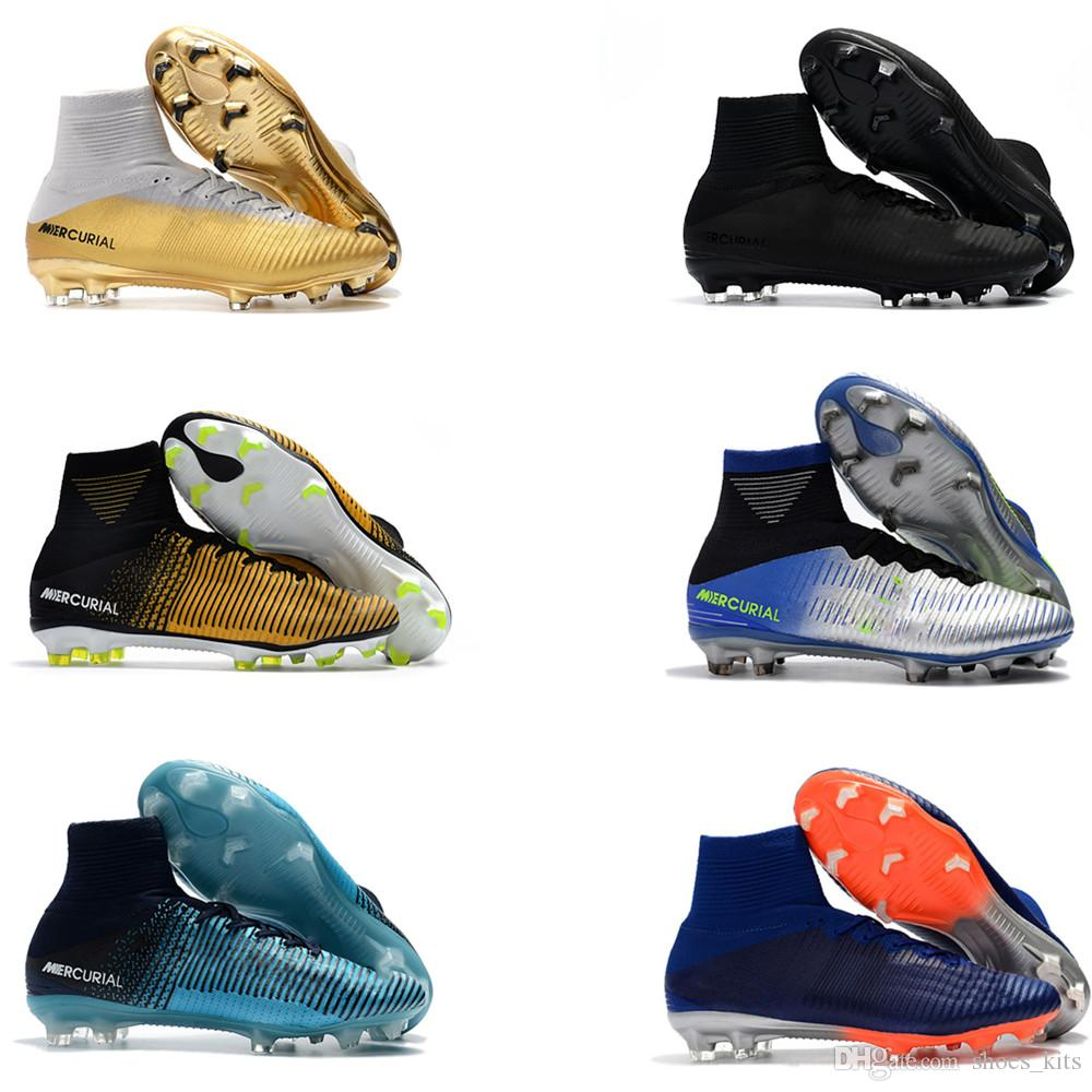 2019 2018 Original Mens And Womens Mercurial Superfly Blue Gold CR7 FG  Soccer Shoes Kids Football Boots Top Quality Size 35 45 From Shoes kits 0aa91492b8