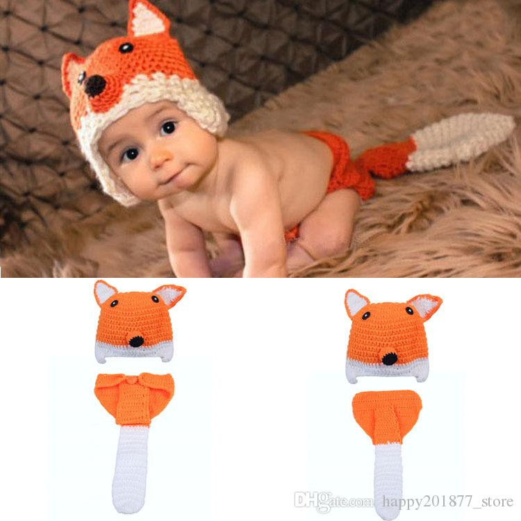 2019 Crochet Fox Hat Diaper Set Knitted Newborn Baby Photography Props  Crochet Baby Animal Costume Newborn BABY Outfits From Happy201877 store a24893d87da5