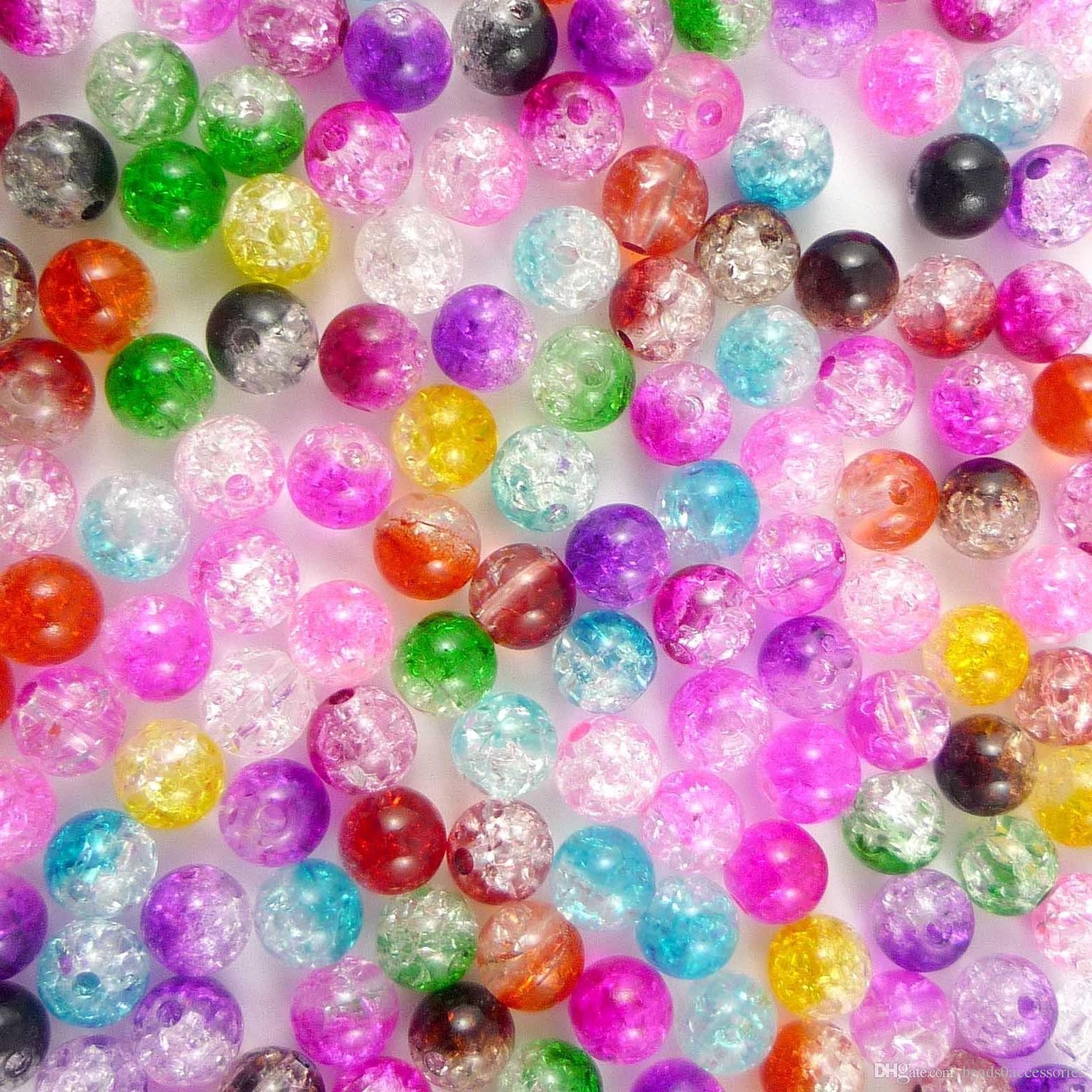 100 unids multicolor de plástico redondo acrílico Beads Craft Kids Jewelry Making 6 mm acrílico
