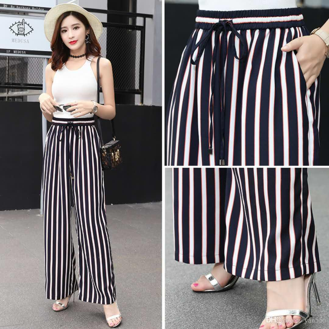 18459bec4e9c 2019 2018 Loose Trousers Women Trousers Elegant Brand Womens Trousers  Vertical Striped High Waist Wide Leg Pants From Yan556