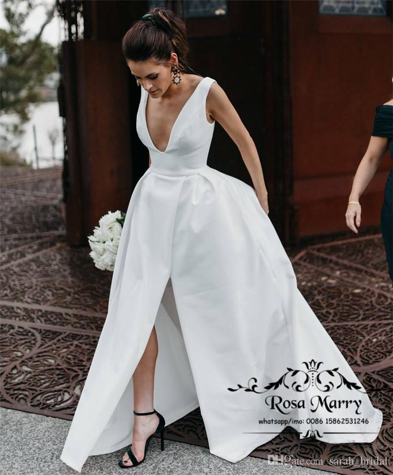 Discount Sexy Plus Size Cheap Wedding Dresses 2019 A Line Deep V