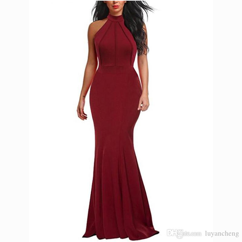 Mulheres da moda Bodycon Sereia Vestidos de Festa Sexy Halter Borgonha Cetim Elástico Simples Mulheres Vestido Mais Barato Homecoming Vestidos 2018 Plus Size