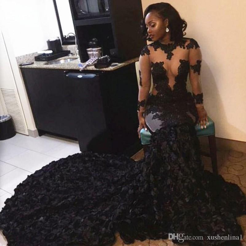 African Black Mermaid Prom Dresses Sheer Neckline Appliques Long Sleeves Evening Dress Long Sweep Train Arabic Dubai Party Gowns