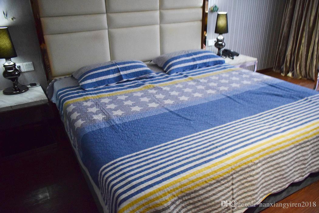 Acheter Blue Stripe Washed Cottton Ensemble De Couvre Lit Couvre Lit