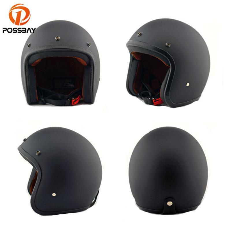 Possbay Retro Motorcycle Helmet Vintage Scooter Helmet Men Black Abs