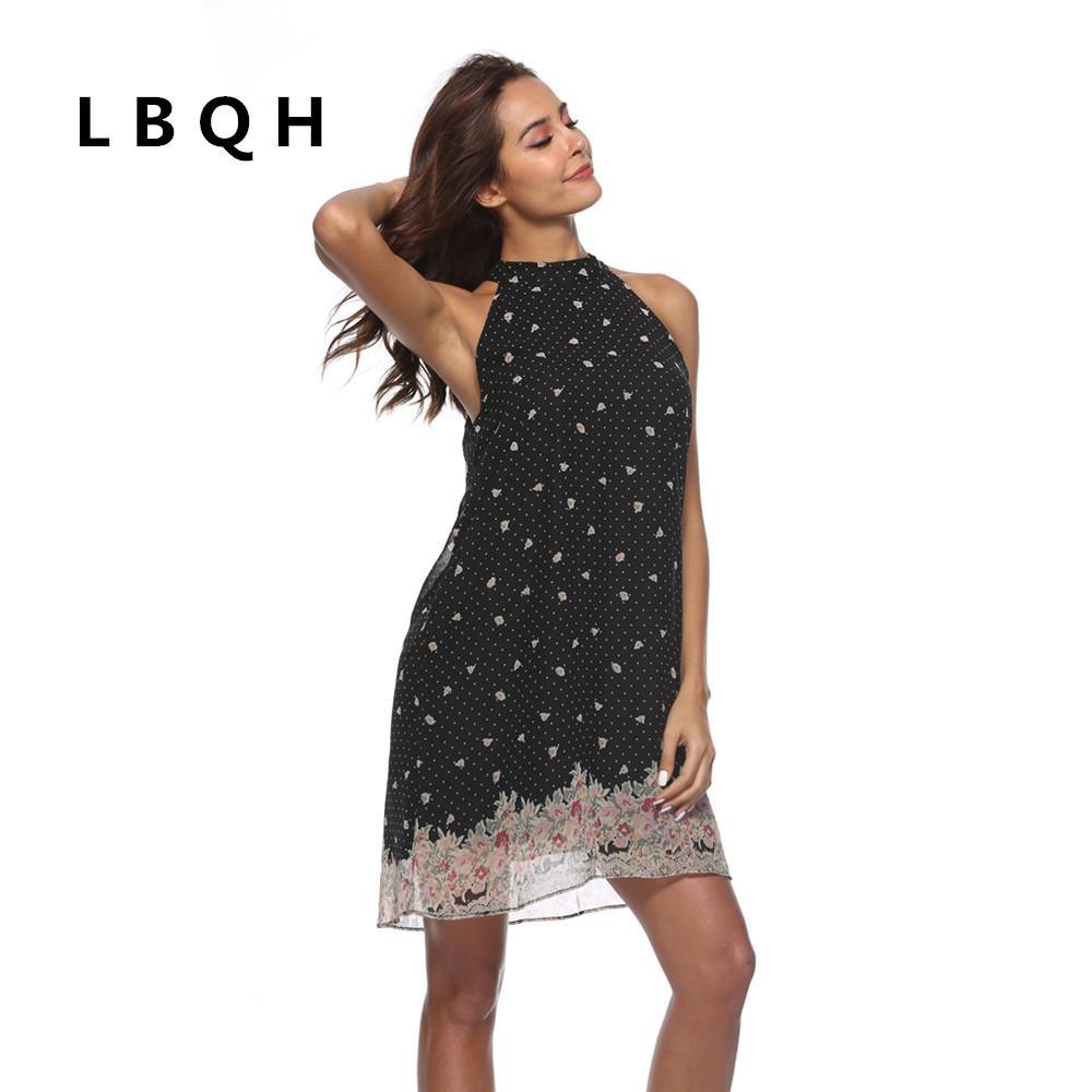456a0322ef9c78 Großhandel LBQH 2018 Neue Frauen Mode Sommer Sexy Chiffon Print Kleid Hohe  Qualität Dot Schwarze Blume Frauen Vintage Markenkleidung Von Fullcolor, ...