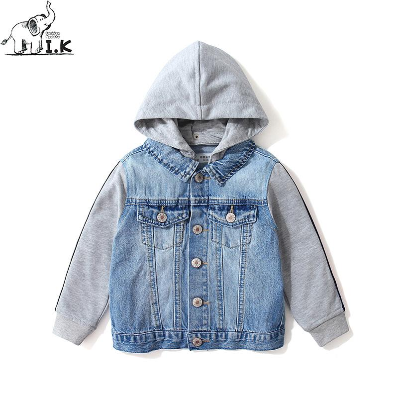 1776b5217 I.K Infant Boys Jeans Hoodie Button Two Pieces Jacket Little Kids Denim  Outwear Baby Children Outfits WT26017 Autumn New 2018 Boys Jackets And Coats  Boys ...