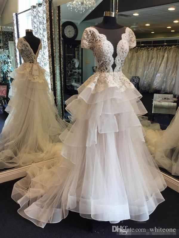 Discount Gorgeous Low Cut A Line Wedding Dresses 2018 Summer Lace Short  Sleeves Bridal Gowns Tulle Tiered Sweep Train Wedding Vestidos Custom Made  Mermaid ... 83296e33b2f9