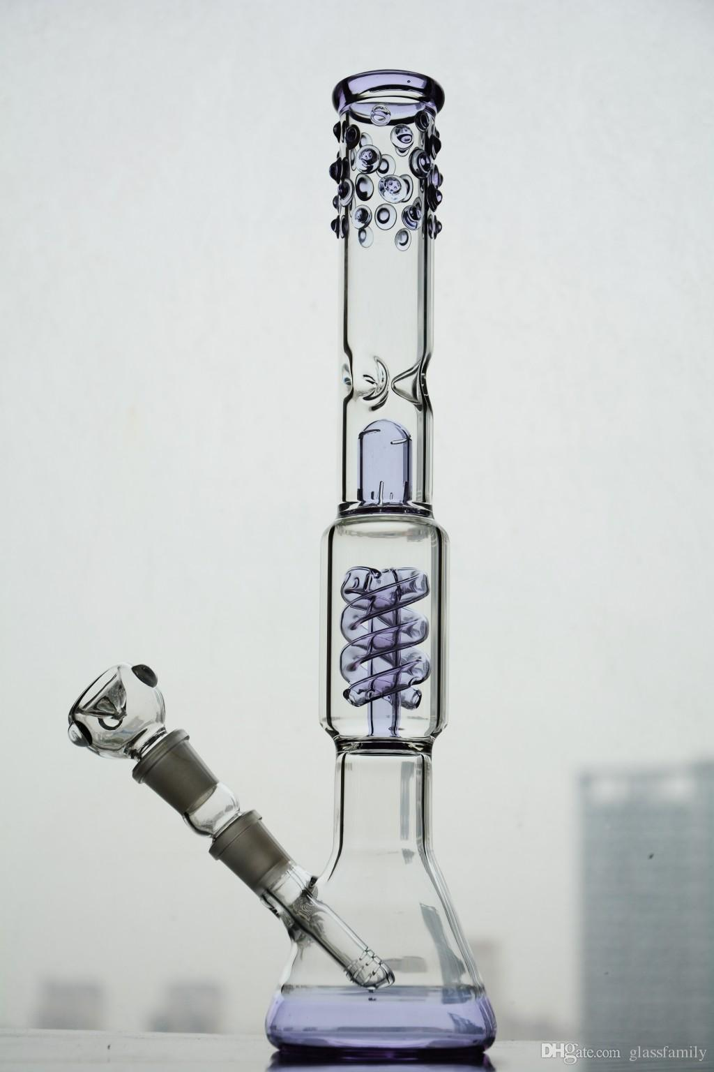 Double Chamber glass bongs with Coil percolator downstem water pipe glass bubbler dab rig 14mm joint