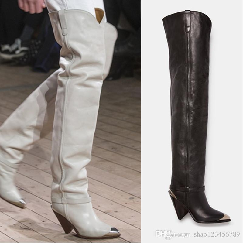 b5eaae6781c6e 2019 Winter Neue Oberschenkel Hohe Stiefel Kegel Ferse Metall Spitz Ritter  Stiefel Top Fashion Celebrity Schuhe Frauen