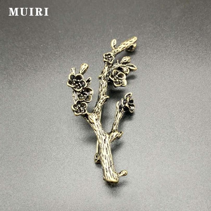 Antique bronze Tree branches muslim hijab pins and brooches for Women safety scarf pins Broche Mujer female broches for mother