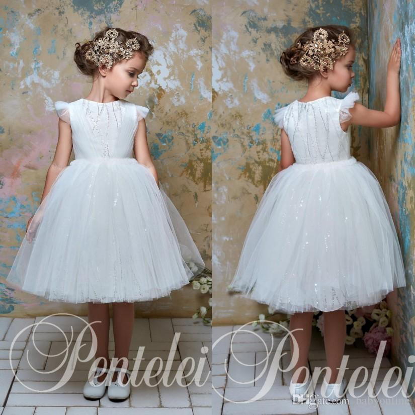 826eb12e1b 2018 Little Girls White Flower Girl Dresses For Weddings Princess Tulle  Knee Length Ruffles Kids Toddler Pageant Birthday Communion Gowns Teal Flower  Girl ...