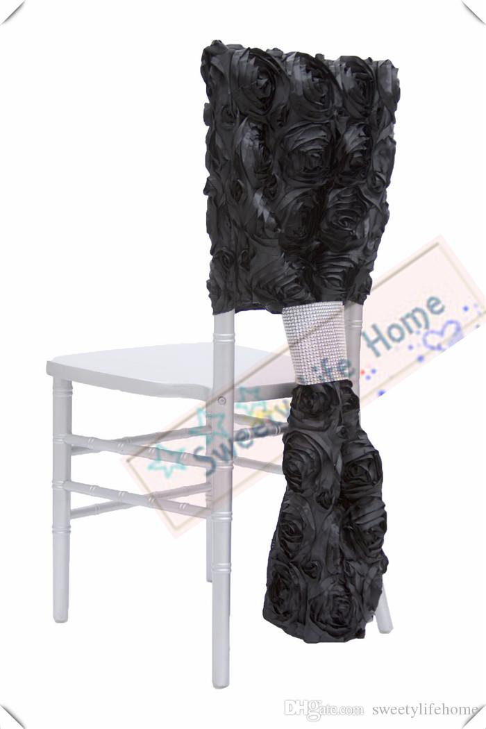 Stupendous Black Free Shipping 3D Satin Rosette Chiavari Chair Covers Wedding Banquet Outdoor Chair Covers Polyester Caps Rose Chair Seats Theyellowbook Wood Chair Design Ideas Theyellowbookinfo