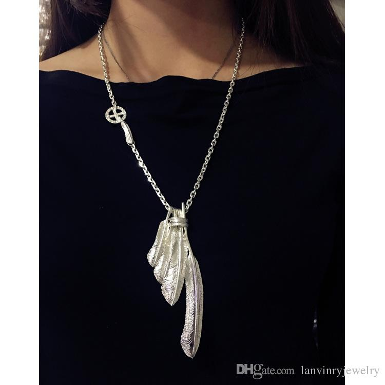 New Unisex Silver Feather Pattern Jewelry Stainless Steel Pendant Chain Necklace