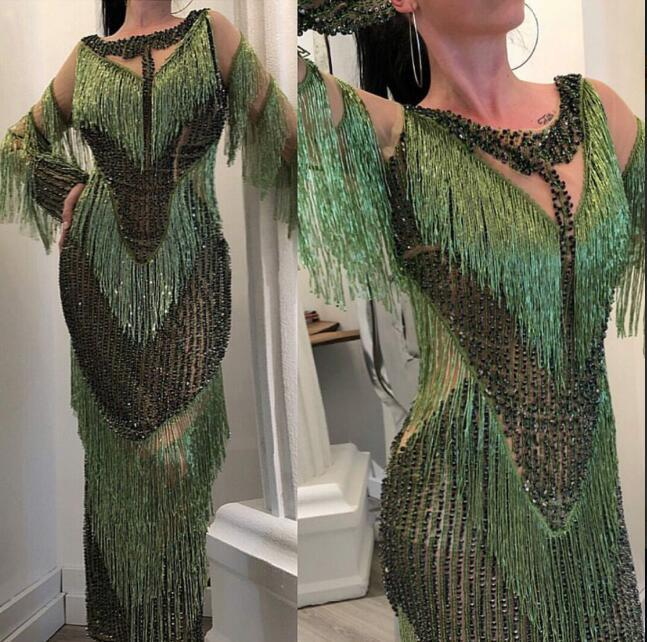 Evening dress Yousef aljasmi Mermaid Green Tassels Black beads Long dress Jianninaazar kim kardashian Tassels Myriam Fares