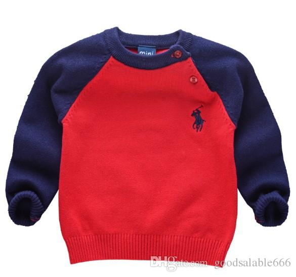 Baby Kids Spring POLO Pullover Sweaters Outifts Boys Brand Sweaters  Children Fashion Daily O,Neck Long Sleeve Winter Jumper Clothes 80,120CM