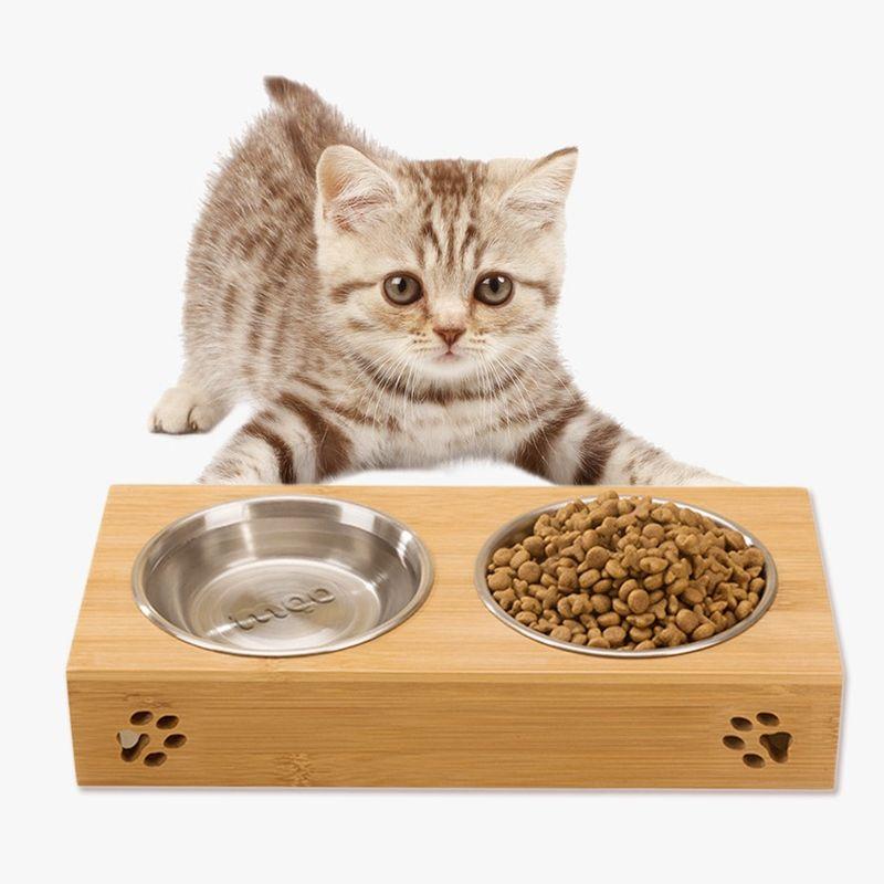 Tigela de cachorro de estimação de aço inoxidável de bambu comida dupla água teddy dog feeder tigela de gato tigelas de alimentos para animais de estimação Dual-uso de Alimentação prato