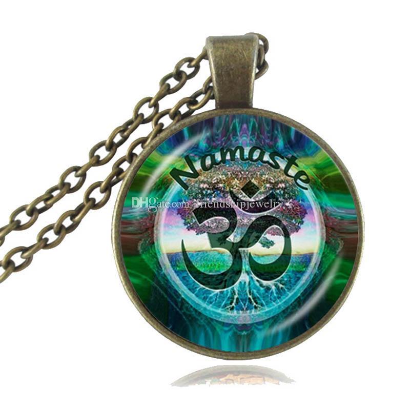 Mens necklace Om Aum Ohm Buddha Necklace Namaste Glass Pendant Jewelry Hindu Symbol Pendant Meditation Hindu Sweater Necklace