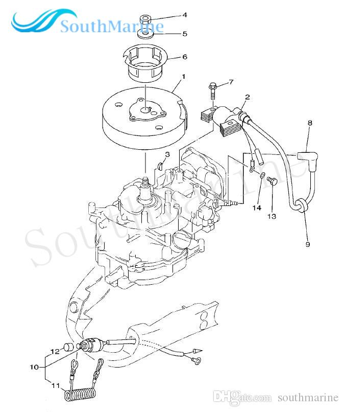 Boat Motor 67D-85640-00 T.C.I Unit Assy for Yamaha 4-Stroke F4 Outboard Engine, Ignition Winding Assy