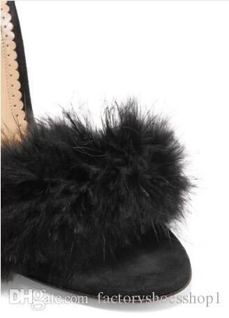 Verano 2018 Hot Women Fashion Sexy Black Fur Open Toe Lace Up Stiletto Heel del alto talón del partido del partido Sandalias Nightclub Zapatos Señora