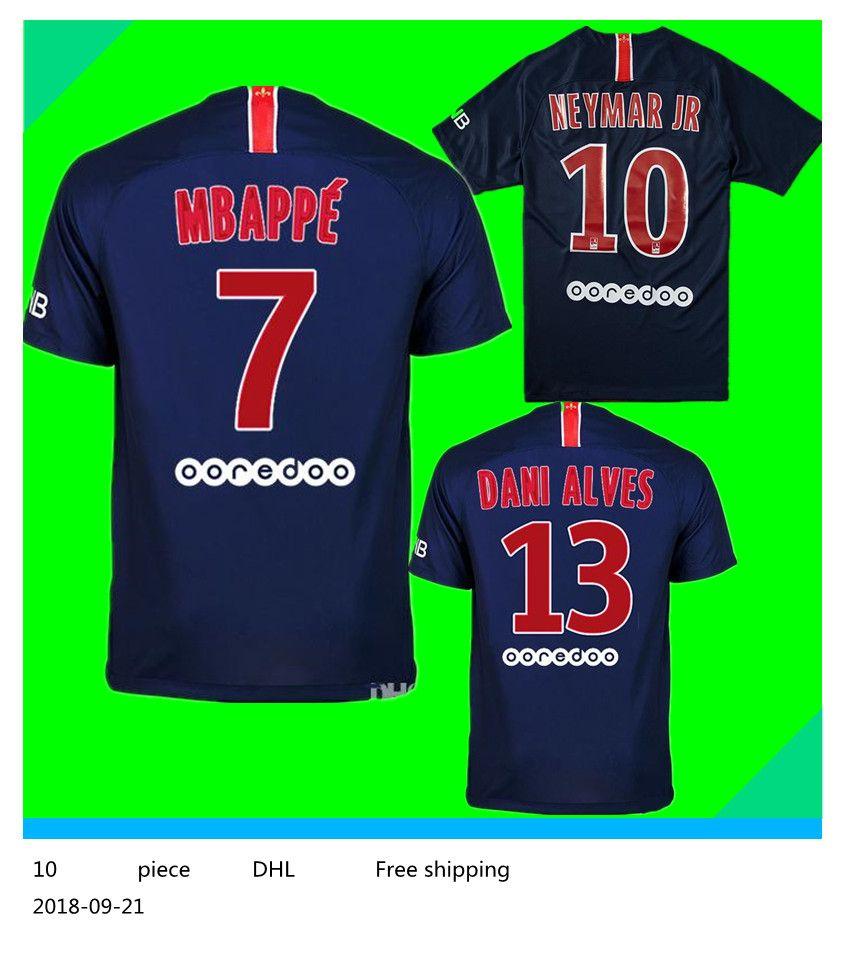 ad4542e53b 2019   10 NEYMAR JR PSG Camiseta De Fútbol Local 18 19   7 MBAPPE Camiseta  De Fútbol Azul   9 CAVANI Paris Saint Germain Uniforme De Fútbol 2018 Talla  S 4XL ...