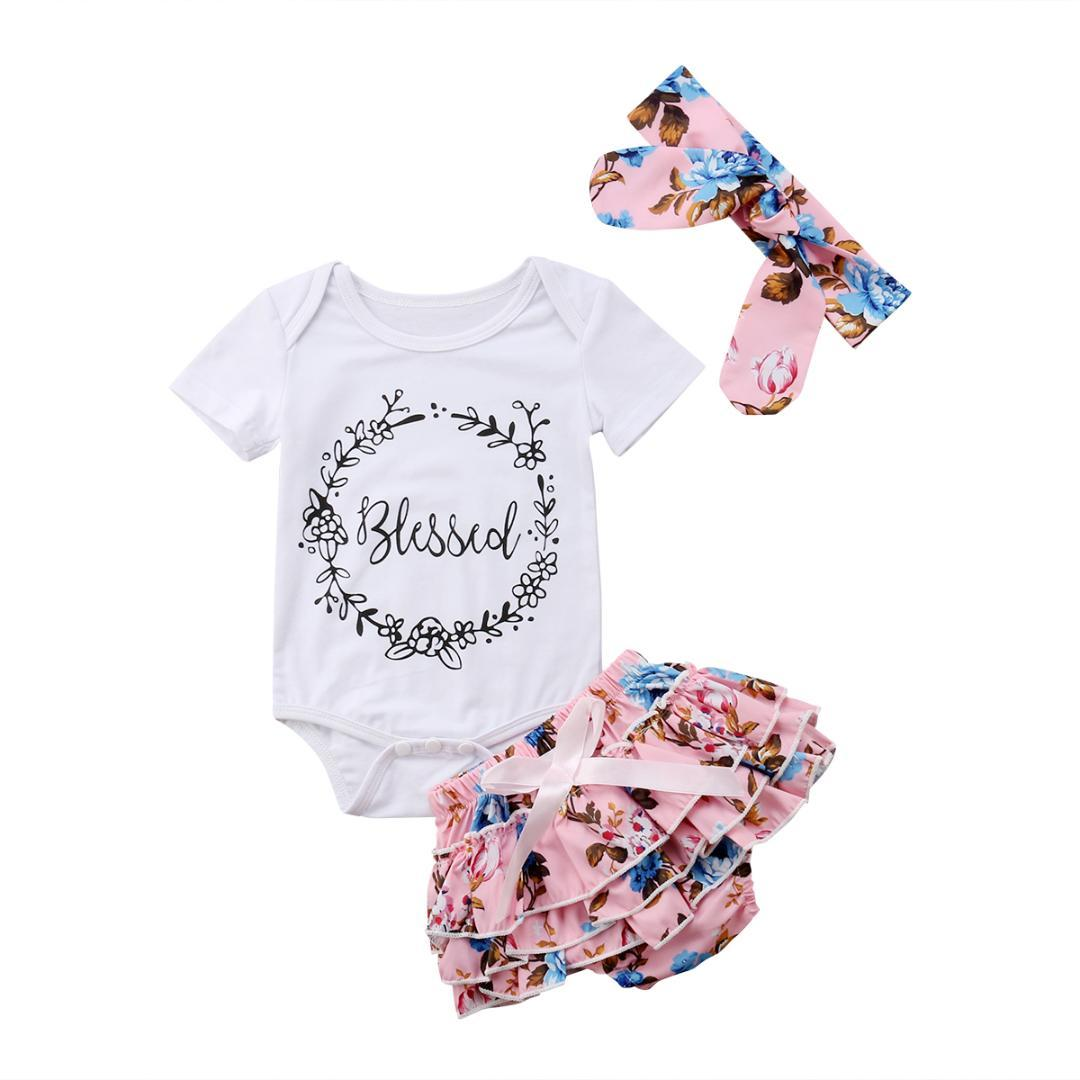 2018 New Brand Print Short Sleeve Cute Stock Newborn Baby Girls Tops Romper Floral Shorts Outfits Set Clothes