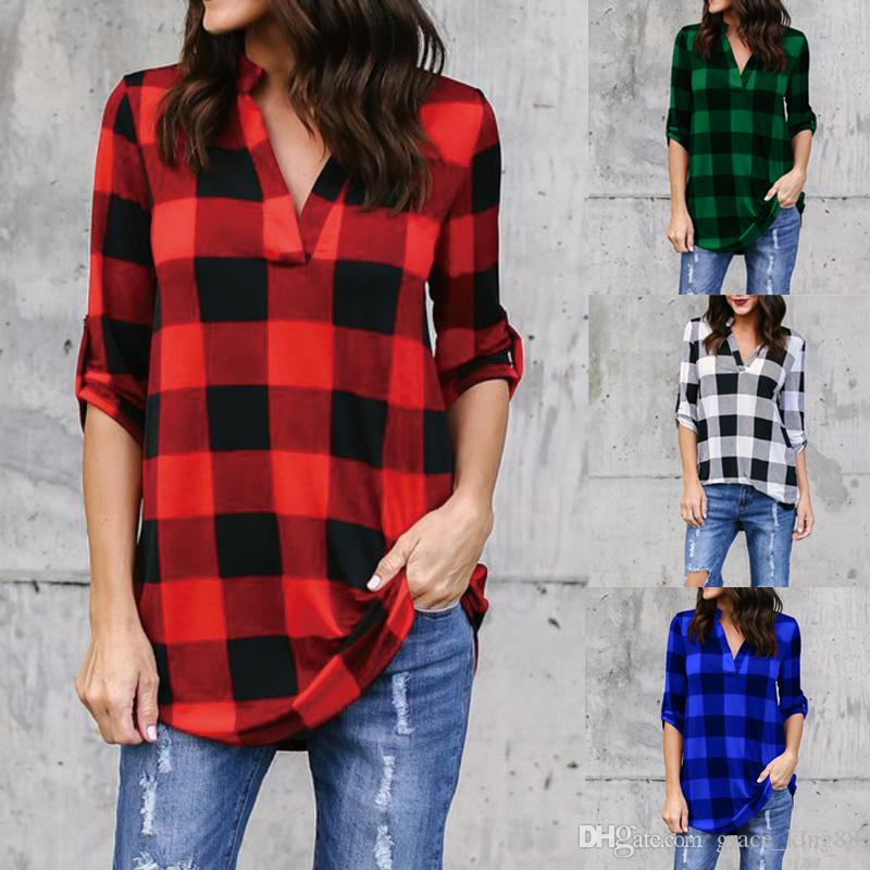 1d6ad814f7e 2019 Spring Autumn New Style V Neck Full Sleeve Plaid Shirt Blouse Fashion  Casual Women S Plus Size Shirt Blouse Plus Size S 5XL From Grace king88