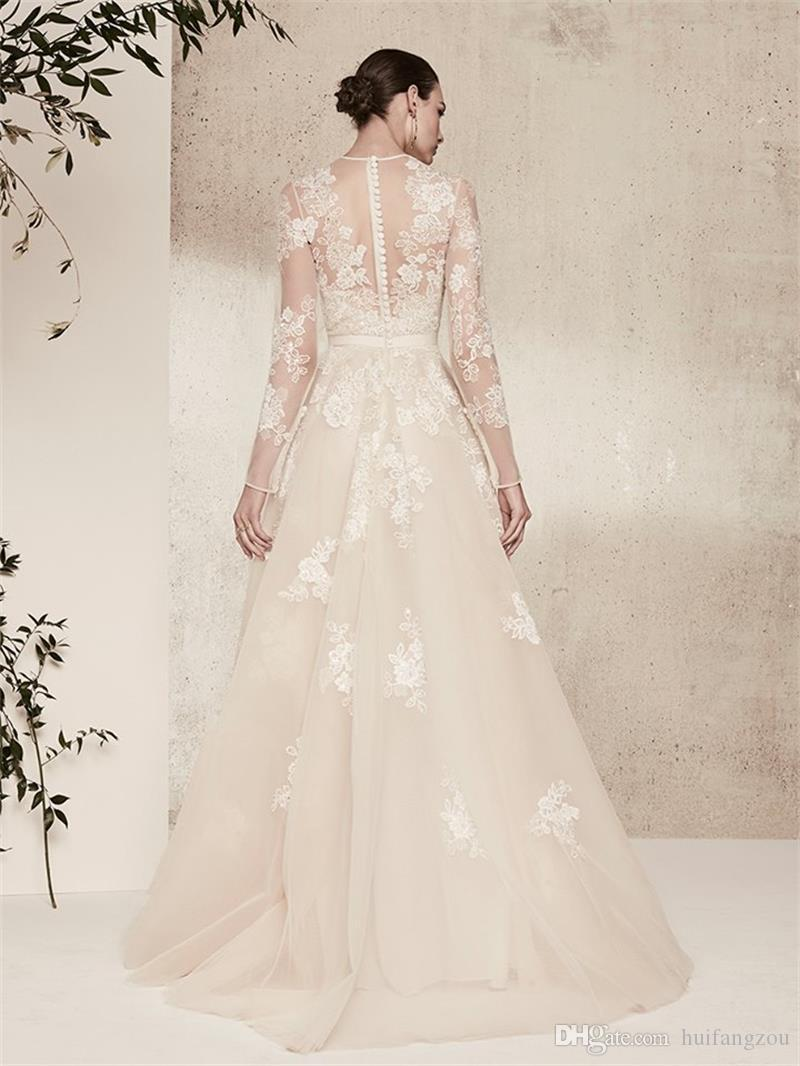 Elie Saab Illusion A Line Wedding Dresses Sheer Neck Delicate Lace Applique Long Sleeves Bridal Gowns Custom Made Country Wedding Dress
